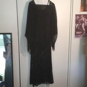 Black Gothic pagan lace maxi dress with shawl